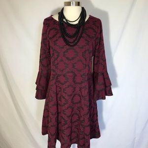 XXL My Michelle baroque floral bell sleeve dress